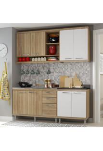 Cozinha Compacta Completa Multimóveis Com 4 Peças Sicília 5818 Argila/Branco