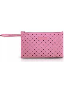 Necessaire Com Alça Tam. G Estampa Coração Jacki Design Pink Lover Rosa