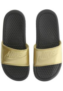 Chinelo Nike Benassi Jdi Print - Slide - Feminino - Preto/Ouro