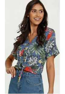 Blusa Feminina Cropped Estampa Tropical Marisa