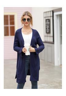 Cardigan De Lã Astana Feminino - Navy