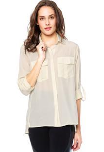 Camisa Seda Manga Longa Letage Acetinada Off-White