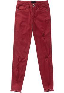 Calça Jeans Skinny Com Elastano Malwee Vinho - 34