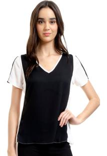 Blusa 101 Resort Wear Tunica Decote V Crepe Bicolor Preto Off