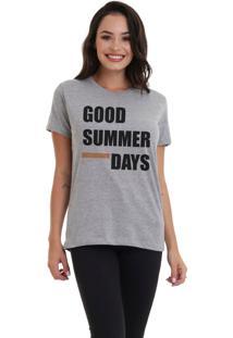 Camiseta Jay Jay Bã¡Sica Good Summer Days Cinza Mescla Dtg - Cinza - Feminino - Dafiti