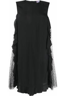 Redvalentino Vestido Reto Com Acabamento De Babados - Preto