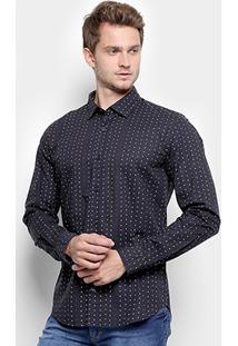 Camisa Slim Reserva Estampada De Poá Manga Longa - Masculino-Preto