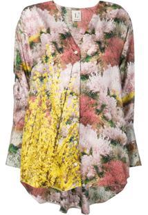 L'Autre Chose Blusa Estampada Assimétrica - Rosa