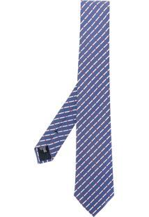 Emporio Armani Gravata De Seda Listrada - Azul