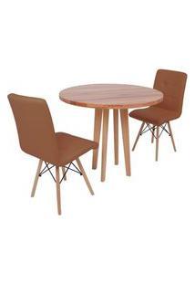 Conjunto Mesa De Jantar Em Madeira 90Cm Com Base Vértice + 2 Cadeiras Gomos - Marrom