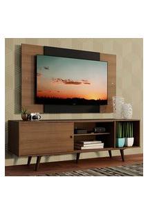 Rack Madesa Dubai Com Pés E Painel Para Tv Até 58 Polegadas Rustic/Preto 5Zc1 Preto
