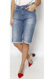 Bermuda Jeans Estonada Com PuãDos - Azul Claro- M. Om. Officer