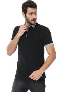 Camisa Polo Colcci Reta Listras Preta