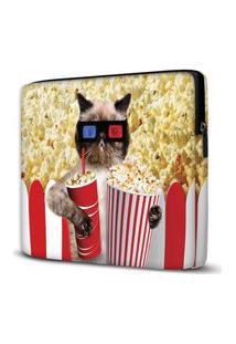 Capa Para Notebook Popcorn Cat 15 Polegadas Com Bolso