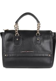 Bolsa Couro Jorge Bischoff Handbag Básica Feminina - Feminino-Preto