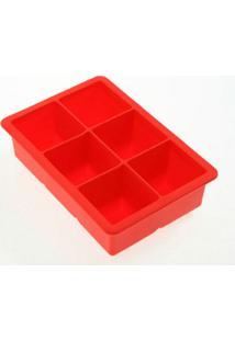 Forma Para Gelo Grande Em Silicone Vermelho Mor