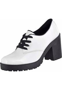 Bota Cano Curto Verniz Dr Shoes Branco