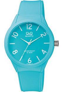 Relógio Qq De Pulso Analógico Vr28J020Y Feminino - Feminino-Azul Claro