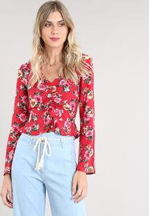 Blusa Feminina Cropped Estampada Floral Com Franzido Manga Longa Decote V Vermelha