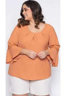 Blusa Almaria Plus Size Lasala Lisa Caramelo Amarelo