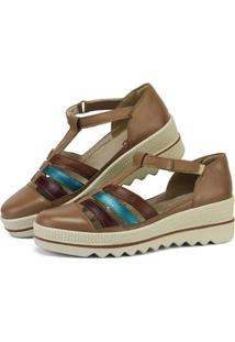 Sandália Plataforma Em Couro Sapatofran Com Velcro Feminina - Feminino