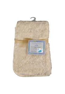 Cobertor Para Bebê Peludinho De Florzinha 1,50M X 1,00M Com Cabide Petit Baby - Marfim