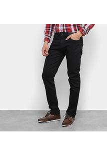 Calça Jeans Slim Aleatory Básica Cintura Média Masculina - Masculino-Preto