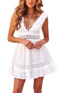 Vestido C/Renda Crochê Decote V Curto