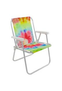 Cadeira De Praia E Piscina Alta Alumínio Tie Dye