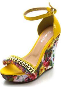 Sandália Anabela Flor Da Pele Amarelo