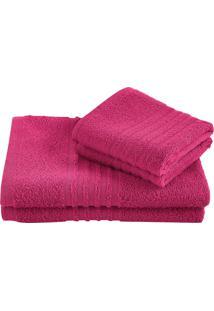 Jogo Toalha Felpuda De Banho Lepper Unique 3 Peças Pink