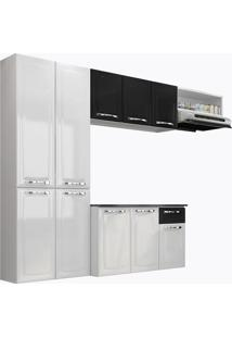 Cozinha Compacta Com Tampo 4 Peças Amanda - Itatiaia Aço - Branco / Preto