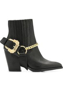 Versace Jeans Couture Ankle Boot Com Aplicação De Corrente - Preto
