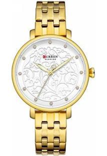 Relógio Curren Analógico C9046L Feminino - Feminino-Dourado