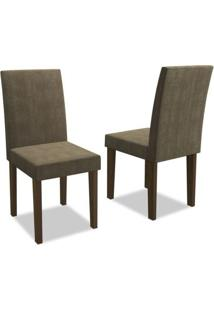 Kit 2 Cadeiras Para Sala De Jantar Giovana Castanho/Animale Cinza - New Ceval