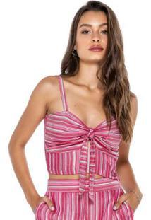 Blusa Rosa Cropped Com Amarração