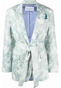 Hebe Studio Blazer Com Cinto E Estampa De Folhas - Azul