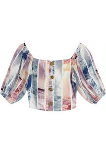 Blusa Bege Cropped Digital Nature