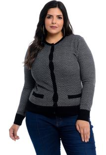 Cardigan Plus Size Dianna Preto Zigue Cinza