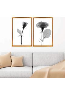 Quadro Com Moldura Chanfrada Sombra Flores Dourado - Grande - Multicolorido - Dafiti