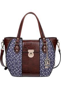 Bolsa De Mã£O Com Recortes Texturizados - Marrom & Azul Mfellipe Krein