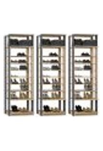 Kit 03 Módulos Sapateira Para Closet Clothes 1009 Carvalho Mel Espresso Be Mobiliario