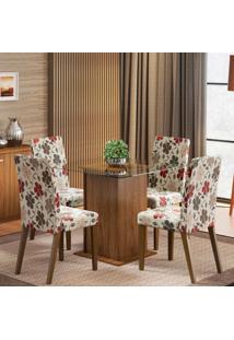 Conjunto De Mesa Com 4 Cadeiras Tais Rustic E Floral Hibiscos