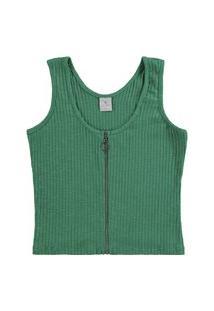 Blusa Lecimar Em Malha Canelada Flamê Alto Verão Verde