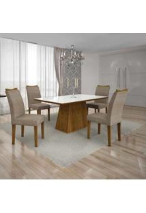 Conjunto De Mesa Pampulha I Com 4 Cadeiras Canela E Bege 120Cm