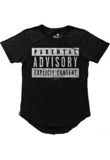 Camiseta Stoned Longline Parental Advisory Preto