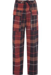 Calça Masculina Flannel Chess - Vermelho