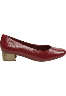 Sapato Em Couro Envernizado- Bordô- Salto: 3,5Cmusaflex