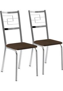 Kit 2 Cadeiras Napa Cacau Cromado Móveis Carraro