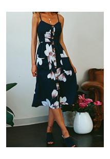 Vestido Martinelli Feminino - Azul Navy Com Flores